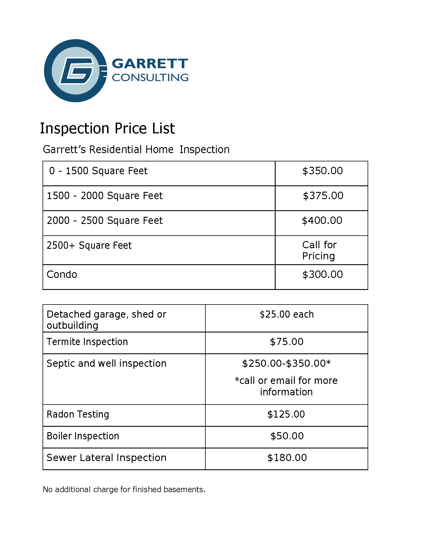 garrett consulting and inspection services